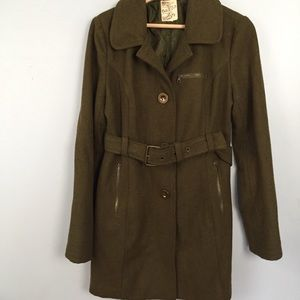 Tulle Trench Coat Army Green Belted Waist Sz M/L